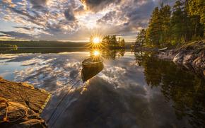 Рингерике, Норвегия, Norway, озеро, Ringerike, закат, отражение, лодка, деревья