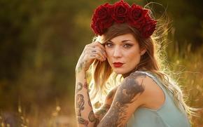 fille, modèle, couronne, Roses, Fleurs, Piercing, tatouage, kalyaki-Malaki, voir, humeur