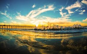 san diego, California, Pacific Ocean, San Diego, California, Pacific, ocean, wave, bridge, sky, clouds, sunset