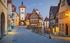 Rothenburg, Germany, evening, lights, home, street, arch, tower, Half-timbered houses