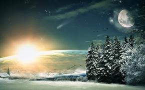 Луна, звезды, ночь, фантастика, лес, зима, снег, ель, ели, дома, деревня, деревья, солнце, небо