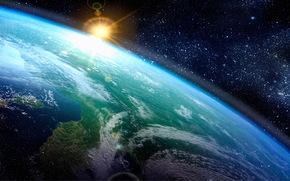 космос, планета, Земля, солнце, звёзды, горизонт