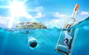 mare, squalo, isola, Ragazza in una bottiglia
