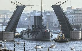 petersburg, Leningrad, Piotrogród, Peter, Rosja, krążownik, Jutrzenka, most