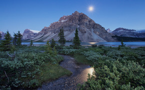 Lago Bow, Montaña de la araña, Parque Nacional Banff, Montañas Rocosas de Canadá, Alberta, Canadá, Lago Bow, Banff, Alberta, Canadá, Montaña de la araña, Rockies canadienses, Montañas, lago, arroyo