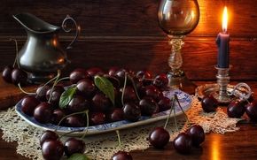 cherry, BERRY, candle, wineglass, pitcher, still life