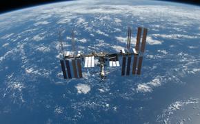 МКС, Земля, космос, наука, техника, орбитальная, станция, океан, облока, горизонт, полёт