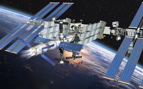 МКС, Земля, космос, наука, техника, орбитальная, станция, облока, горизонт, полёт, звёзды, графика