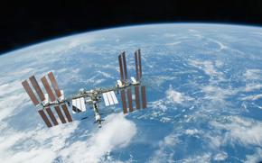 МКС, Земля, космос, наука, техника, орбитальная, станция, облока, горизонт, полёт