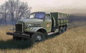 Art, machine, Military truck, ussr, ZIS-151