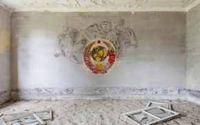 room, windows, coat of arms, ussr, abandoned, Military, part
