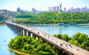 Kiev, Ukraine, river, Dnieper, bridge, Hills