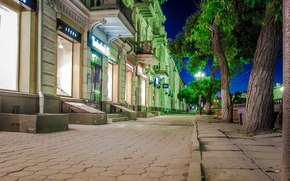 Omsk, Russia, street, lights, night, city, trees, Signs, Stores, windows, showcase, pavement