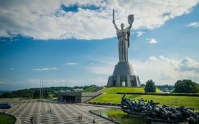 motherland, monument, sculpture, Kiev, Ukraine, trees, sky, clouds