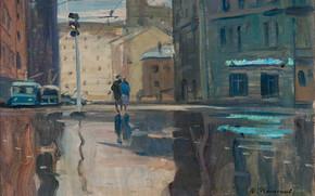 Раннее утро в Москве, Юрий, Пименов, 1961, СССР, город, Москва, картина, троллейбус, светофор, улица, дома, люди