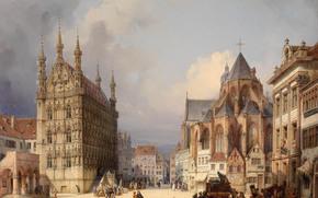 market Square, Leuven, 1854, Austria, picture, city, home, people