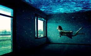 underwater, room, windows, girl, floats
