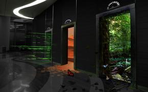 levantar, portas, andar, floresta, deserto, borboleta, construção, QUARTO, interior, entrada, saída, gráficos