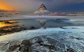 montanha, gelo, Islândia