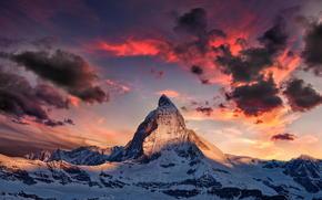 montagna, Alpi, DAWN, nevicata, inverno, paesaggio