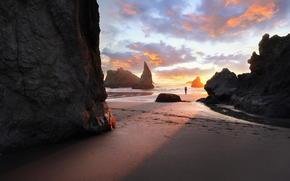 spiaggia, mattinata, sabbia, Rocce, oceano, uomo