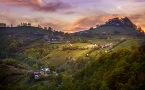 SPRING, morning, sky, clouds, Hills, village, Romania