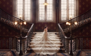 wedding, bride, Wedding Dress, dress, ladder, lights, windows