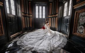 Wedding Dress, dress, bride, bouquet, wedding, floor