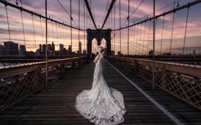 Brooklyn Bridge, New York City, Бруклинский мост, Нью-Йорк, свадьба, невеста, свадебное платье, платье, мост, город