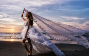 Wedding Dress, dress, bride, veil, wedding, mood, sea, sunset