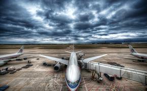 sky, CLOUDS, aviation, stormy sky, plane, airport
