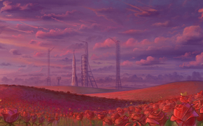 космодром, розы, поле, ракета, небо