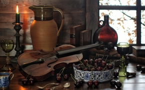BERRY, cherry, violin, pitcher, candle, stemware, bottle, Books, Spoon, still life