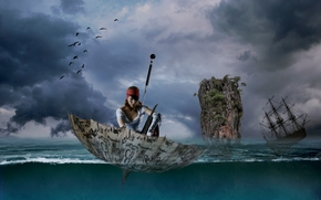 girl, pirate, umbrella, umbrella, sea, sailfish, frigate, rock, situation