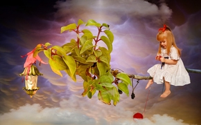 girl, Redhead, redhead, branch, foliage, ball, thread, clouds