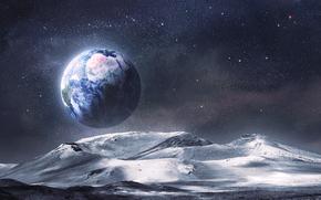 Луна, Земля, космос, звёзды, поверхность, ландшафт, рельеф