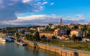 Белград, Сербия, река, причал, корабли, дома, деревья, набережная, облака