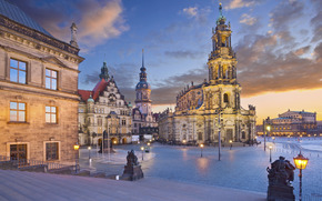 Dresden, Germany, night, lights, area, theater