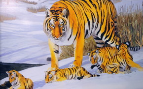 Art, tiger, cubs, Young, kids, winter, snow, tour