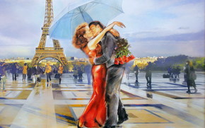 женщина, любовь, мужчина, целуются, арт, Париж, Эйфелева башня