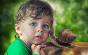 boy, blue eyes, view, snail, Friends, friendship
