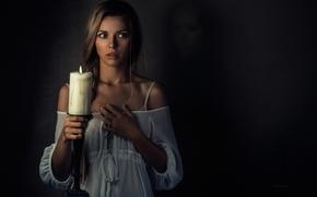 ragazza, candela, situazione, stato d'animo