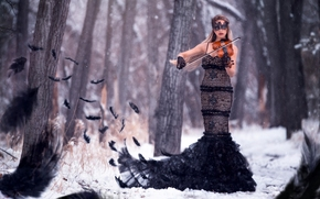 girl, Violinist, figure, dress, violin, mask, plumage, forest, trees, winter, snow