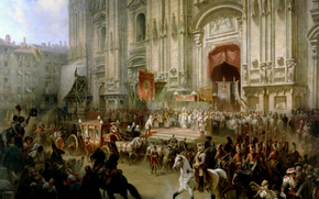 picture, Charlemagne, Suvorov, Milan, 1799, Italy, Russia, coach, horse, rider, cathedral
