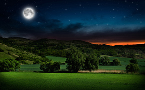 landscape, night, moon, Star, glow, Hills, SHRUBS, trees, Serenity, planet, land, bokeh