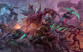 Heroes of the Storm, Zeratul, Thrall, Arthas, Kael'thas, Diablo, Kerrigan, Illidan, Tychus, Knights, battle, battle