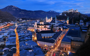 Salzburg, Austria, city, night, lights