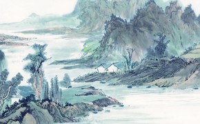 picture, drawing, watercolor, nature, evening, river, shore, home
