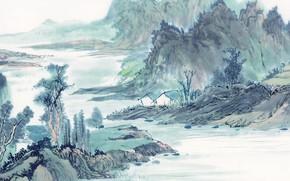 акварель, природа, рисунок, вечер, картина, река, берег, дома