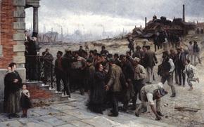 picture, Robert Koehler, strike, Robert Koehler, Der Streik, 1886, plant, working